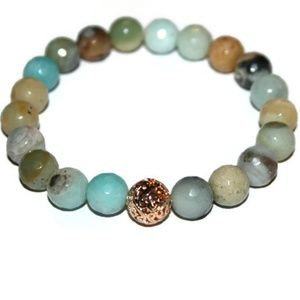 💙Faceted Amazonite 24k Gold Plated Bead Bracelet✨
